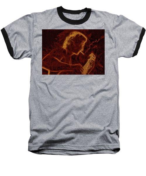 Guitar Player Baseball T-Shirt by Alex Galkin