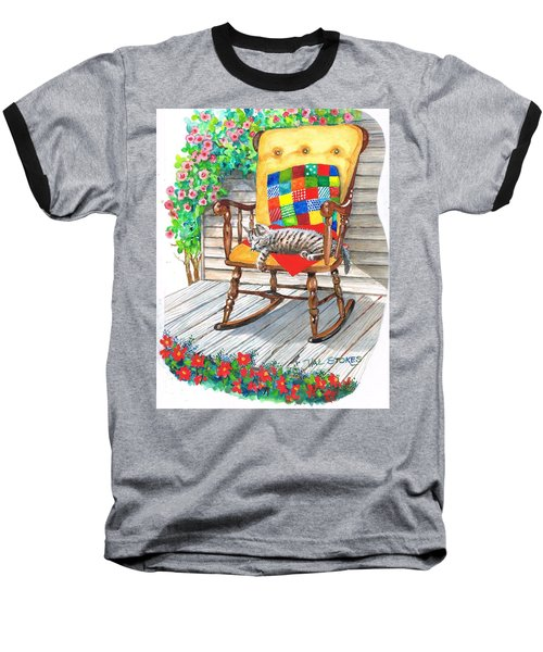 Baseball T-Shirt featuring the painting Happy Cat by Val Stokes