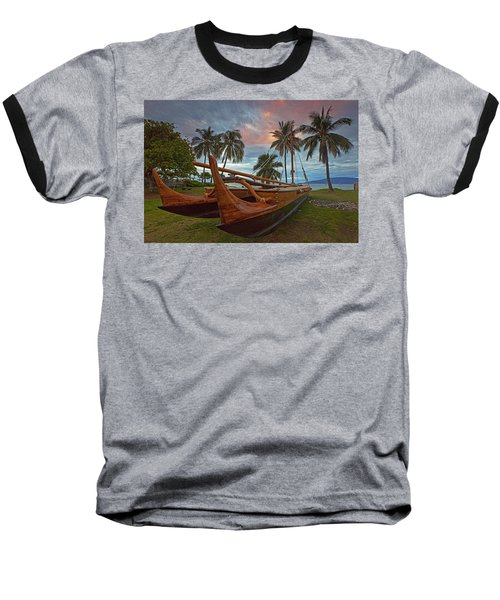 Hawaiian Sailing Canoe Baseball T-Shirt