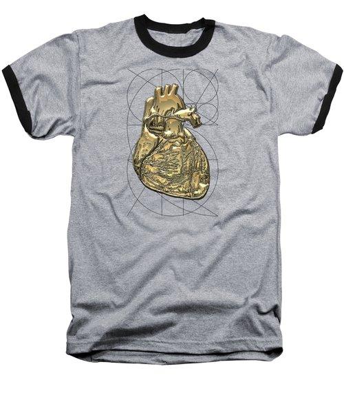Heart Of Gold - Golden Human Heart On Red Canvas Baseball T-Shirt