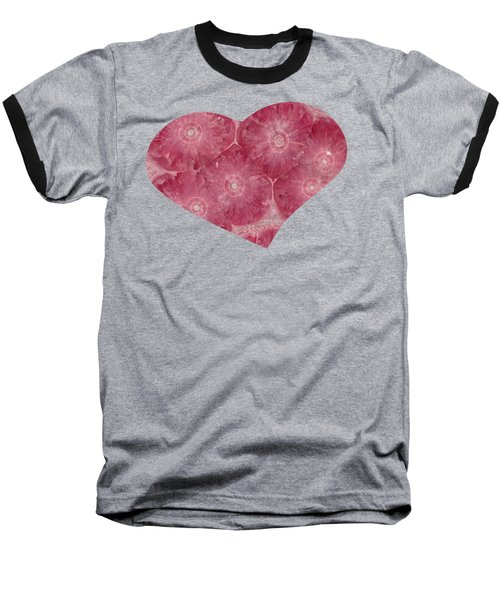 Heart Shape Stone Art Baseball T-Shirt