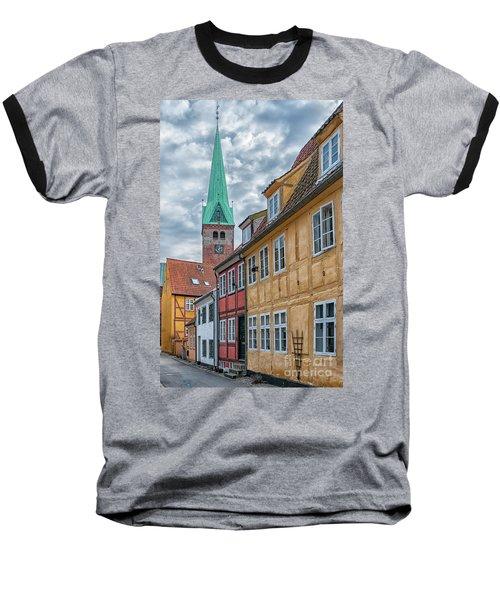Baseball T-Shirt featuring the photograph Helsingor Narrow Street by Antony McAulay