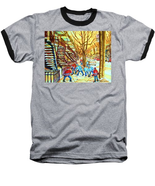 Baseball T-Shirt featuring the painting Hockey Game Near Winding Staircases by Carole Spandau