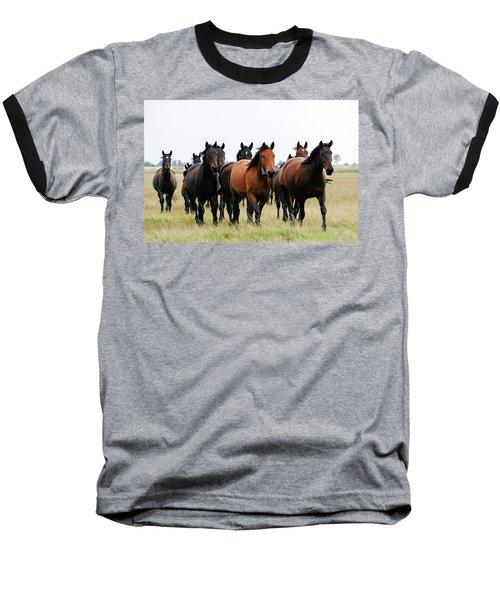 Horse Herd On The Hungarian Puszta Baseball T-Shirt
