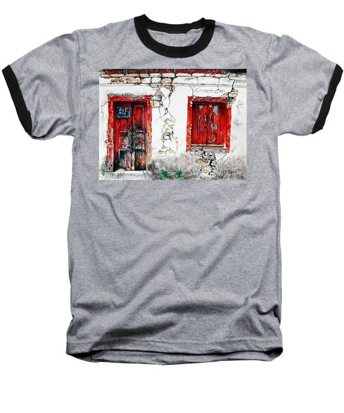 Baseball T-Shirt featuring the painting House For Sale by Maria Barry