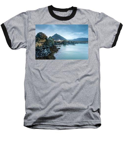 House On Ocean Cliff In Iceland Baseball T-Shirt by Joe Belanger