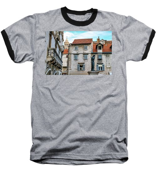 Houses And Cathedral Of Saint Domnius, Dujam, Duje, Bell Tower Old Town, Split, Croatia Baseball T-Shirt by Elenarts - Elena Duvernay photo