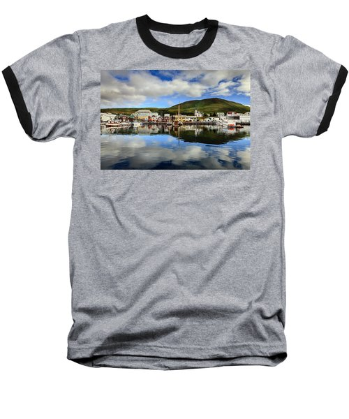 Husavik Harbor Baseball T-Shirt by Alexey Stiop