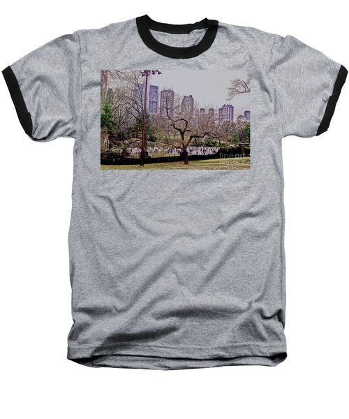 Ice Skaters On Wollman Rink Baseball T-Shirt by Sandy Moulder