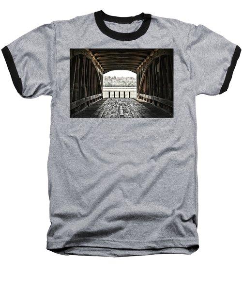 Inside The Covered Bridge Baseball T-Shirt by Joanne Coyle