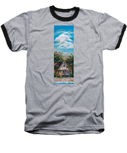 Baseball T-Shirt featuring the painting Island Bungalow by Linda Olsen