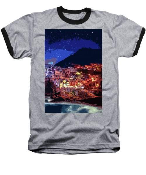 Italy, Manarola At Night Baseball T-Shirt