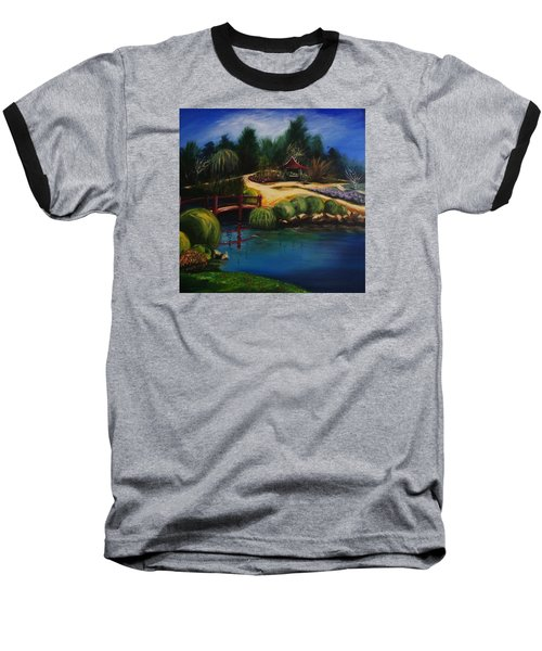 Baseball T-Shirt featuring the painting Japanese Gardens - Original Sold by Therese Alcorn