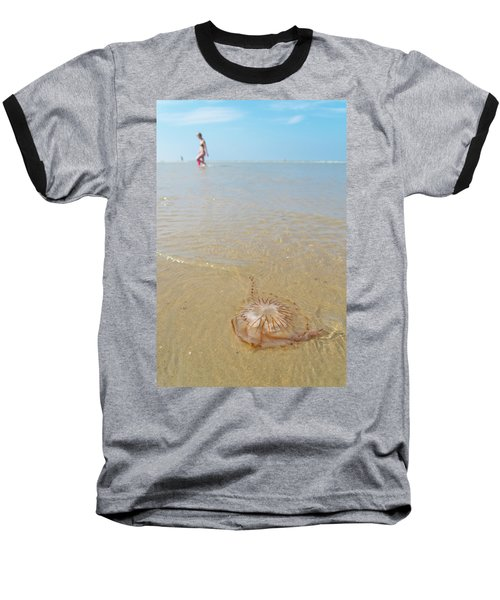 Jellyfish On Beach Baseball T-Shirt by Hans Engbers
