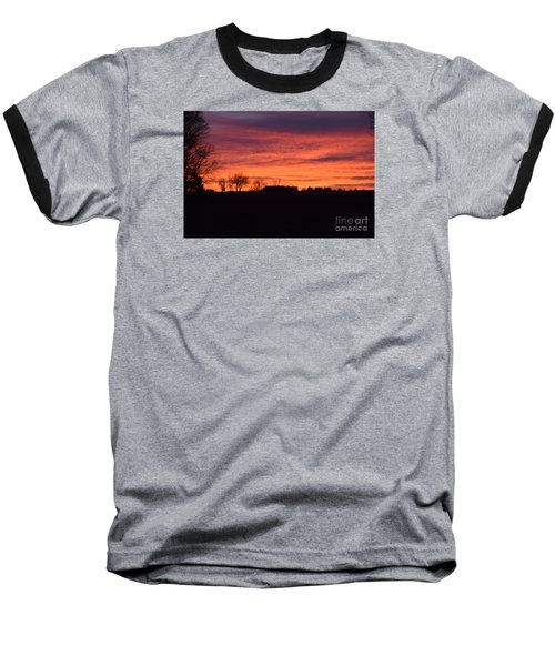 Baseball T-Shirt featuring the photograph Kansas Sunset by Mark McReynolds