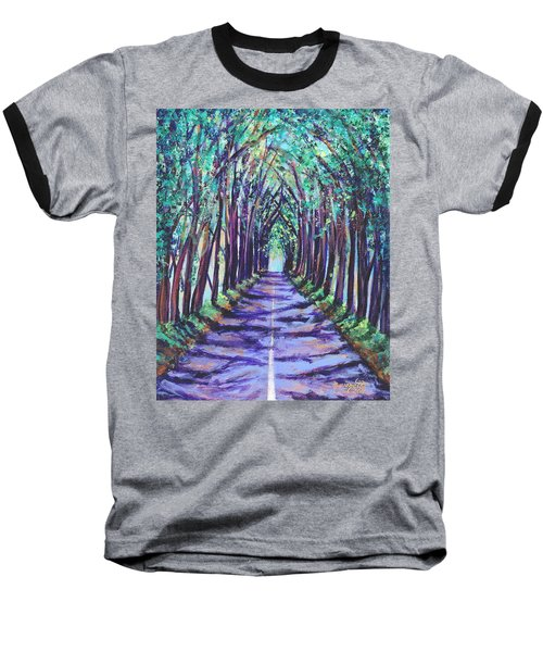 Baseball T-Shirt featuring the painting Kauai Tree Tunnel by Marionette Taboniar
