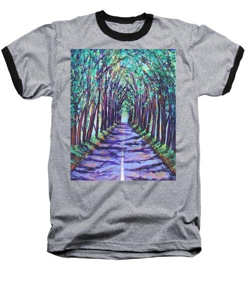 Kauai Tree Tunnel Baseball T-Shirt by Marionette Taboniar