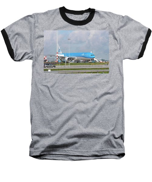 Klm Airplane At Amsterdam Schiphol Airport Baseball T-Shirt by Hans Engbers