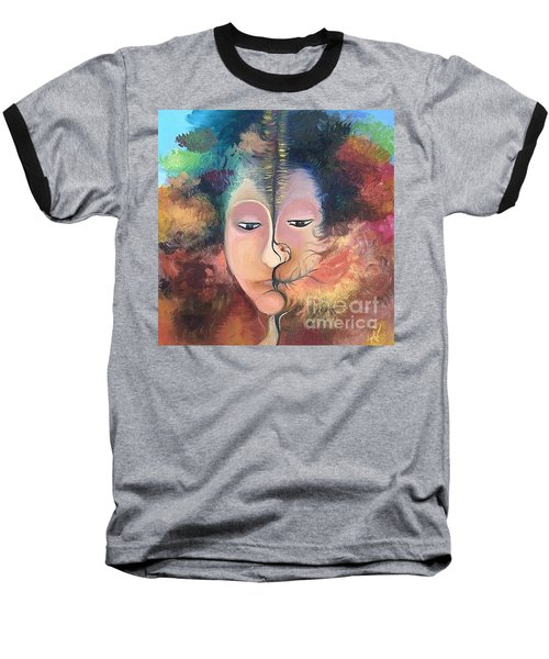 Baseball T-Shirt featuring the painting La Fille Foret by Art Ina Pavelescu