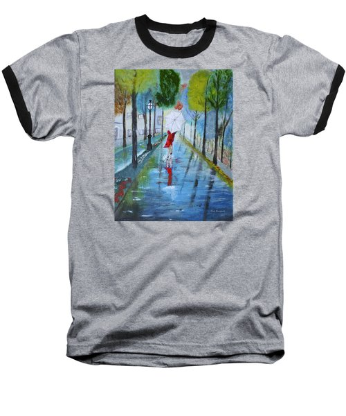 Lady In Red Original Version Baseball T-Shirt by Dick Bourgault
