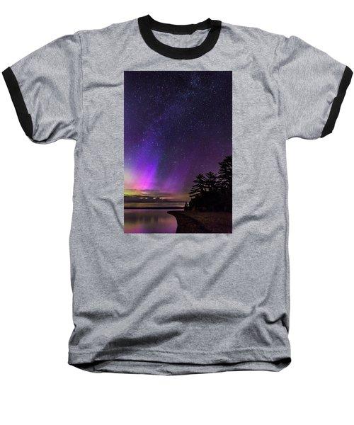 Lake Winnipesaukee Aurora Borealis Baseball T-Shirt