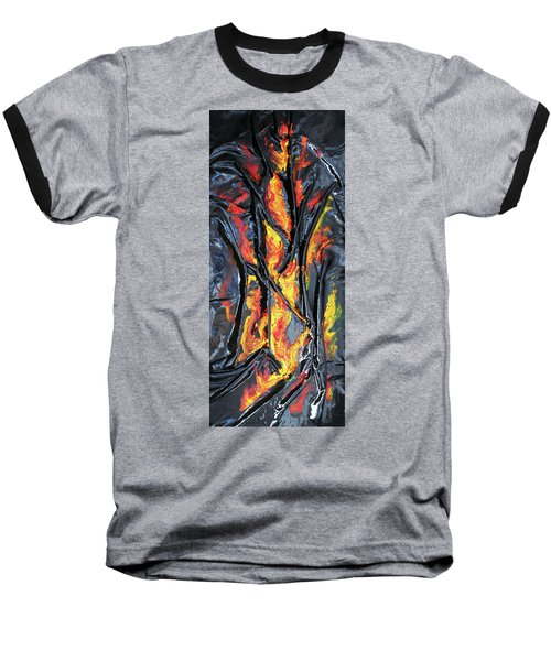 Baseball T-Shirt featuring the mixed media Leather And Flames by Angela Stout