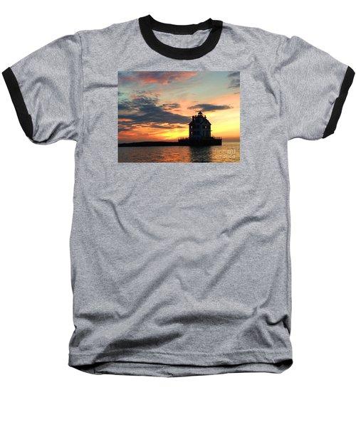 Lighthouse Sunset Baseball T-Shirt