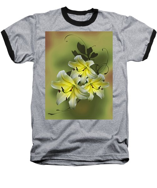 Baseball T-Shirt featuring the photograph Lily Trio by Judy Johnson