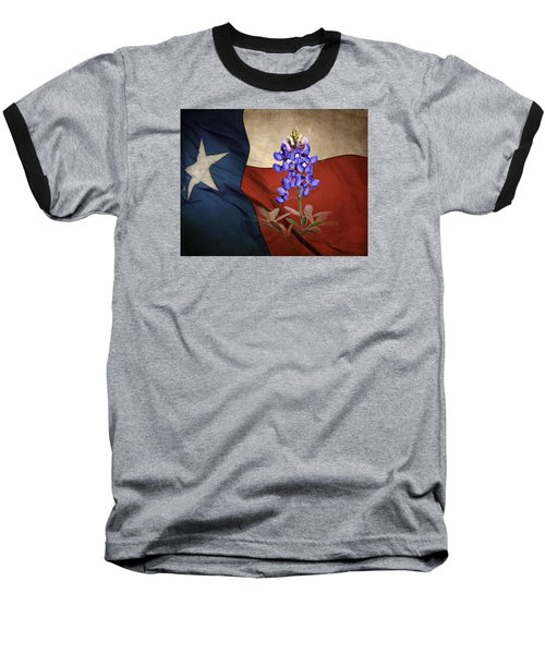 Lone Star Bluebonnet Baseball T-Shirt by David and Carol Kelly