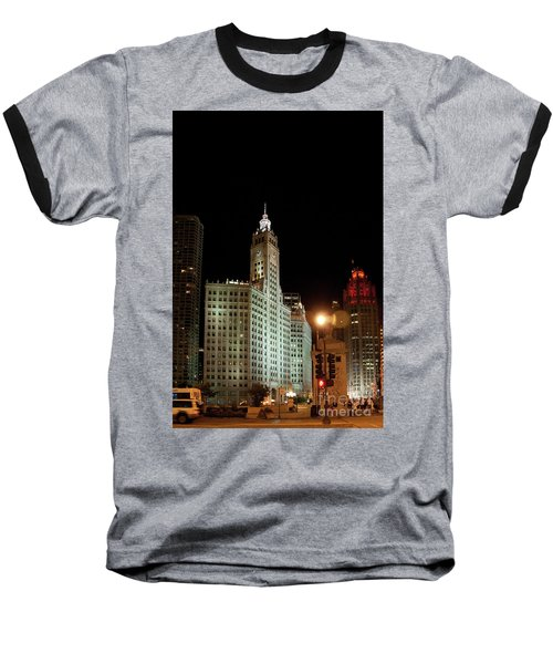 Looking North On Michigan Avenue At Wrigley Building Baseball T-Shirt