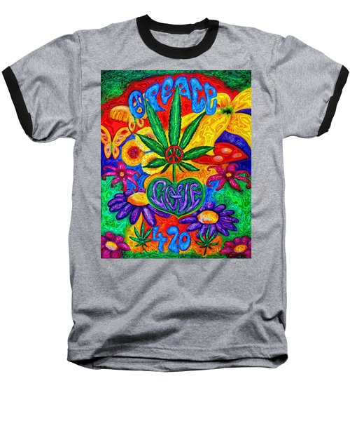 Love And Peace Baseball T-Shirt by Diana Haronis
