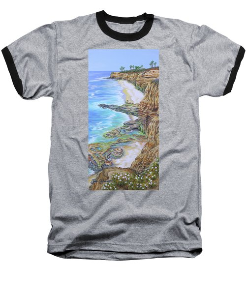 Low Tide Sunset Cliffs Baseball T-Shirt