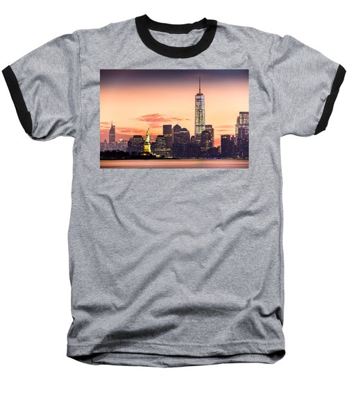 Lower Manhattan And The Statue Of Liberty At Sunrise Baseball T-Shirt by Mihai Andritoiu