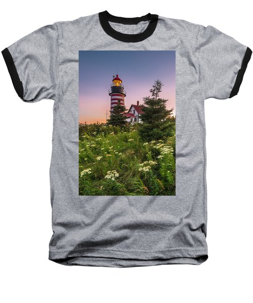 Maine West Quoddy Head Light At Sunset Baseball T-Shirt by Ranjay Mitra