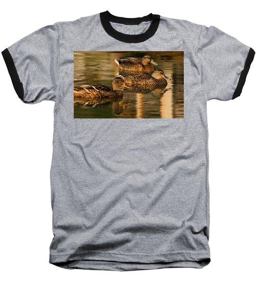 Mallards Swimming In The Water At Magic Hour Baseball T-Shirt