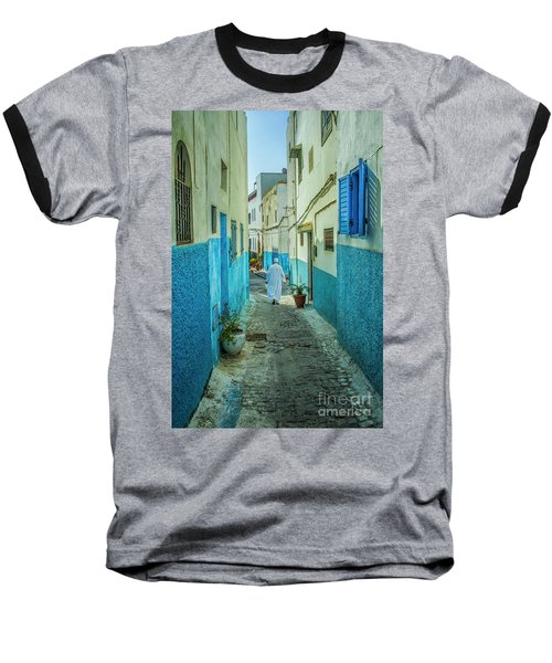 Man In White Djellaba Walking In Medina Of Rabat Baseball T-Shirt