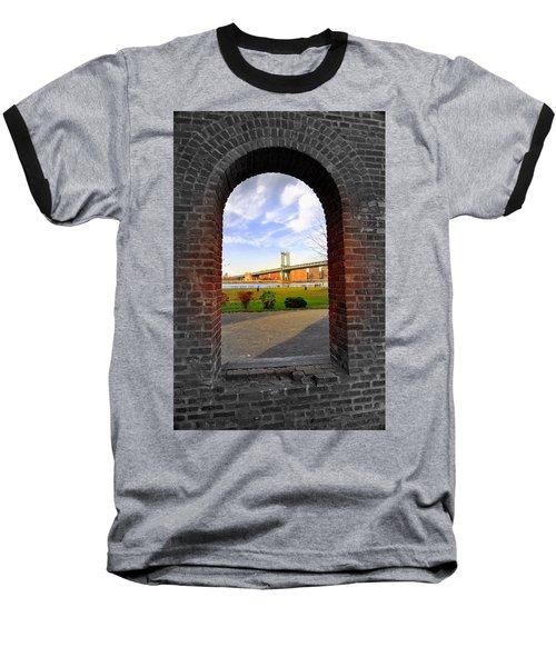 Manhattan Bridge Framed Baseball T-Shirt