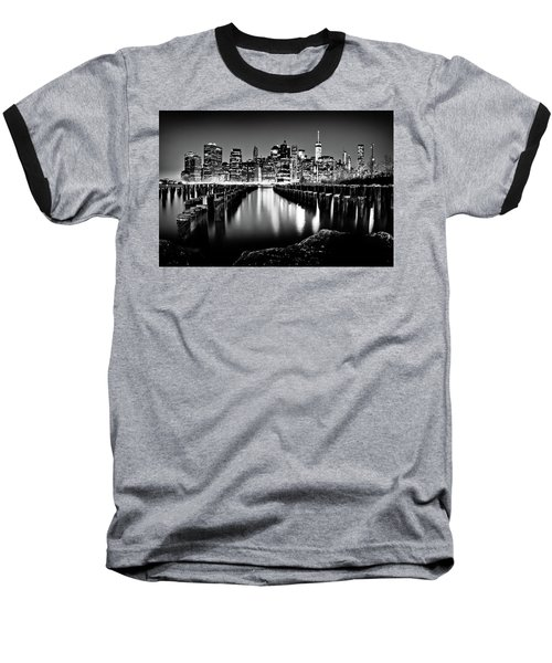 Manhattan Skyline At Night Baseball T-Shirt by Az Jackson