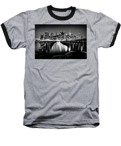 Manhattan Skyline At Night Baseball T-Shirt