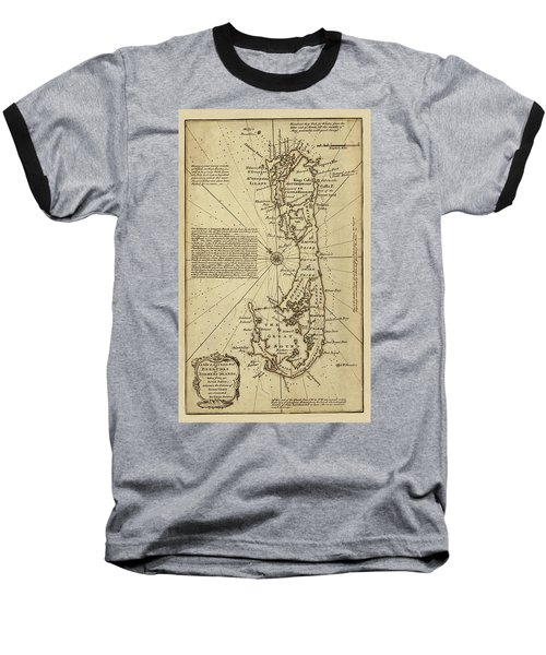 Map Of Bermuda 1750 Baseball T-Shirt by Andrew Fare