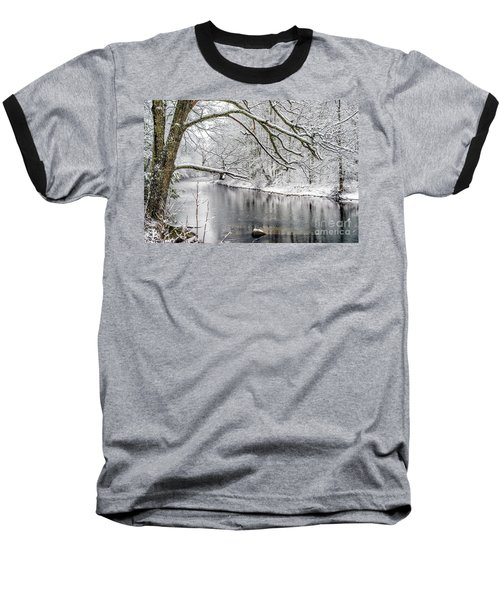 Baseball T-Shirt featuring the photograph March Snow Along Cranberry River by Thomas R Fletcher