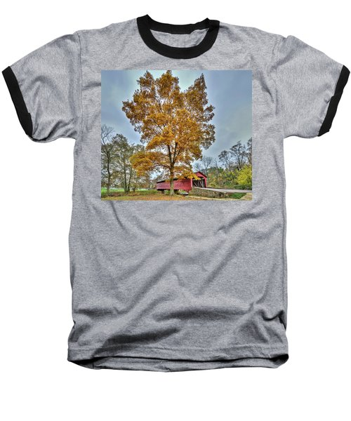 Maryland Covered Bridge In Autumn Baseball T-Shirt