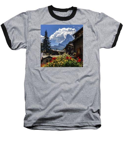 Matterhorn And Zermatt Village Houses, Switzerland Baseball T-Shirt