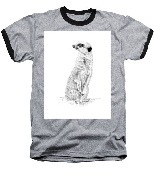 Baseball T-Shirt featuring the mixed media Meerkat In Charge by Elizabeth Lock