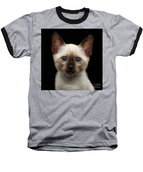 Mekong Bobtail Kitty With Blue Eyes On Isolated Black Background Baseball T-Shirt