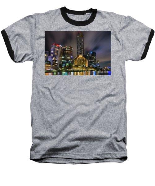 Melbourne City Skyline Over Yarra River  Baseball T-Shirt