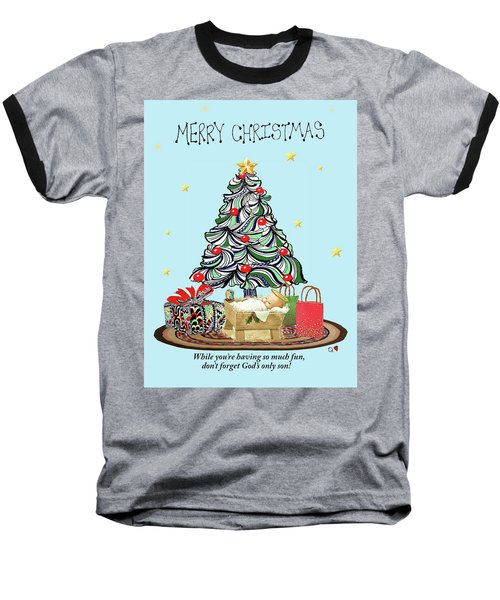 Baseball T-Shirt featuring the drawing Merry Christmas by Quwatha Valentine