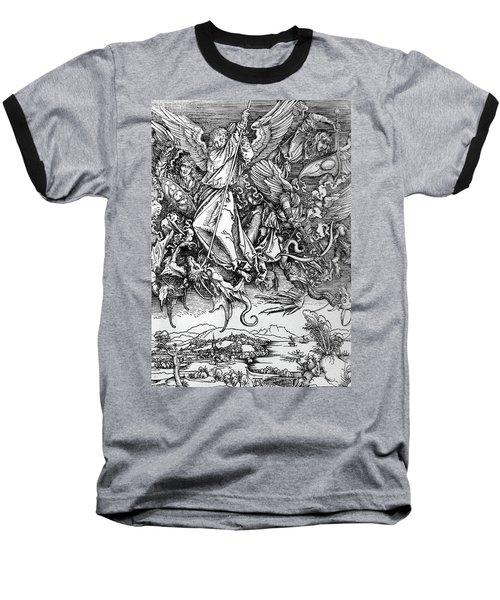Michael Defeats Satan Baseball T-Shirt