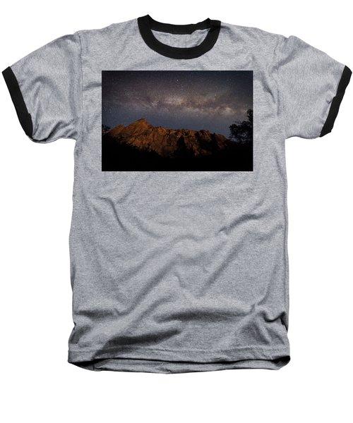 Milky Way Galaxy Over Zion Canyon Baseball T-Shirt
