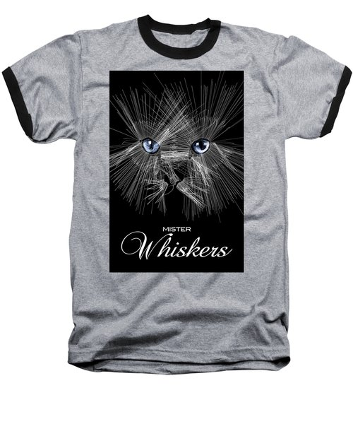 Mister Whiskers Baseball T-Shirt by ISAW Gallery